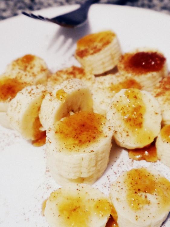bananas con miel y canela