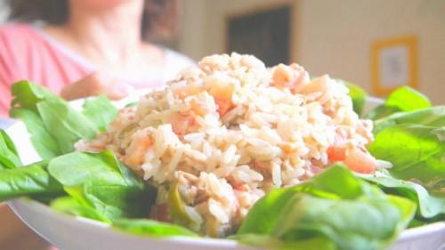 ensalada de arroz y atun