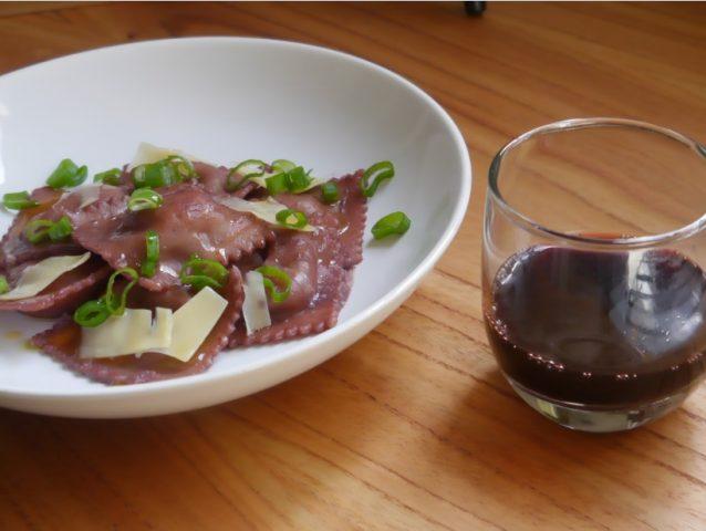 ravioles al vino tinto