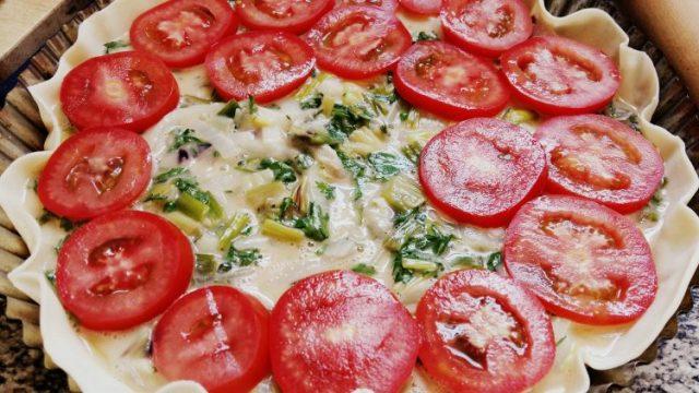 Tarta de tomate con queso y cebolla